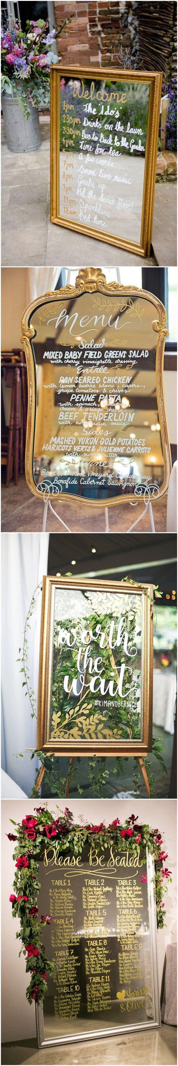 Wedding decoration ideas home  Wedding Decorations   Vintage Mirror Wedding Sign Decoration