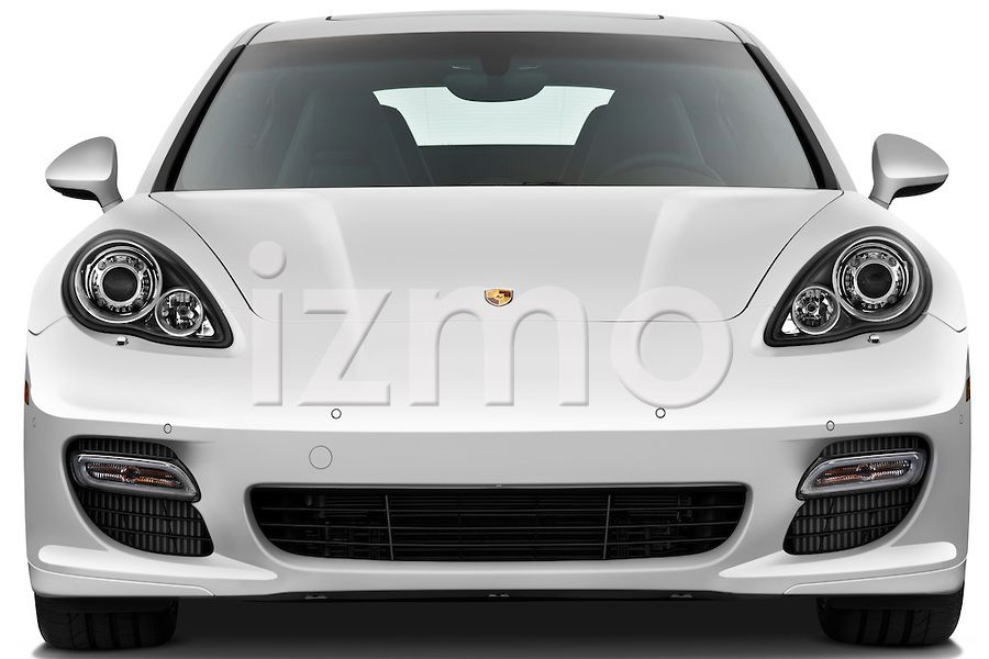 Front view of white 2010 Porsche Panamera Turbo Hatchback