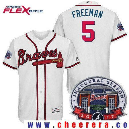 793d442d4 Men s Atlanta Braves  5 Freddie Freeman White Home 2017 Inaugural Season  Patch Stitched MLB Majestic Flex Base Jersey