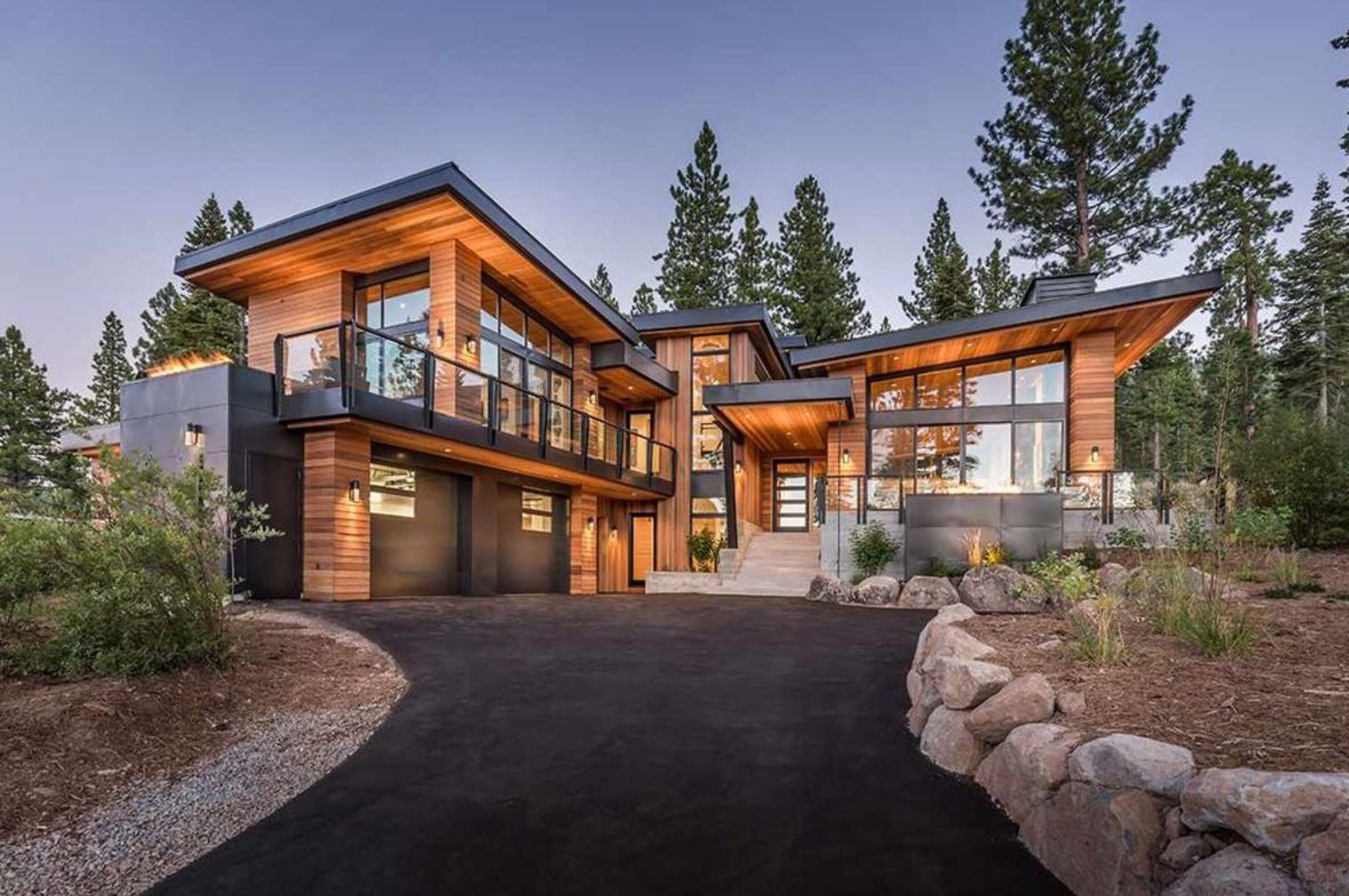Modern Home Shed Roof Metal Garage Door Modern Mountain Home