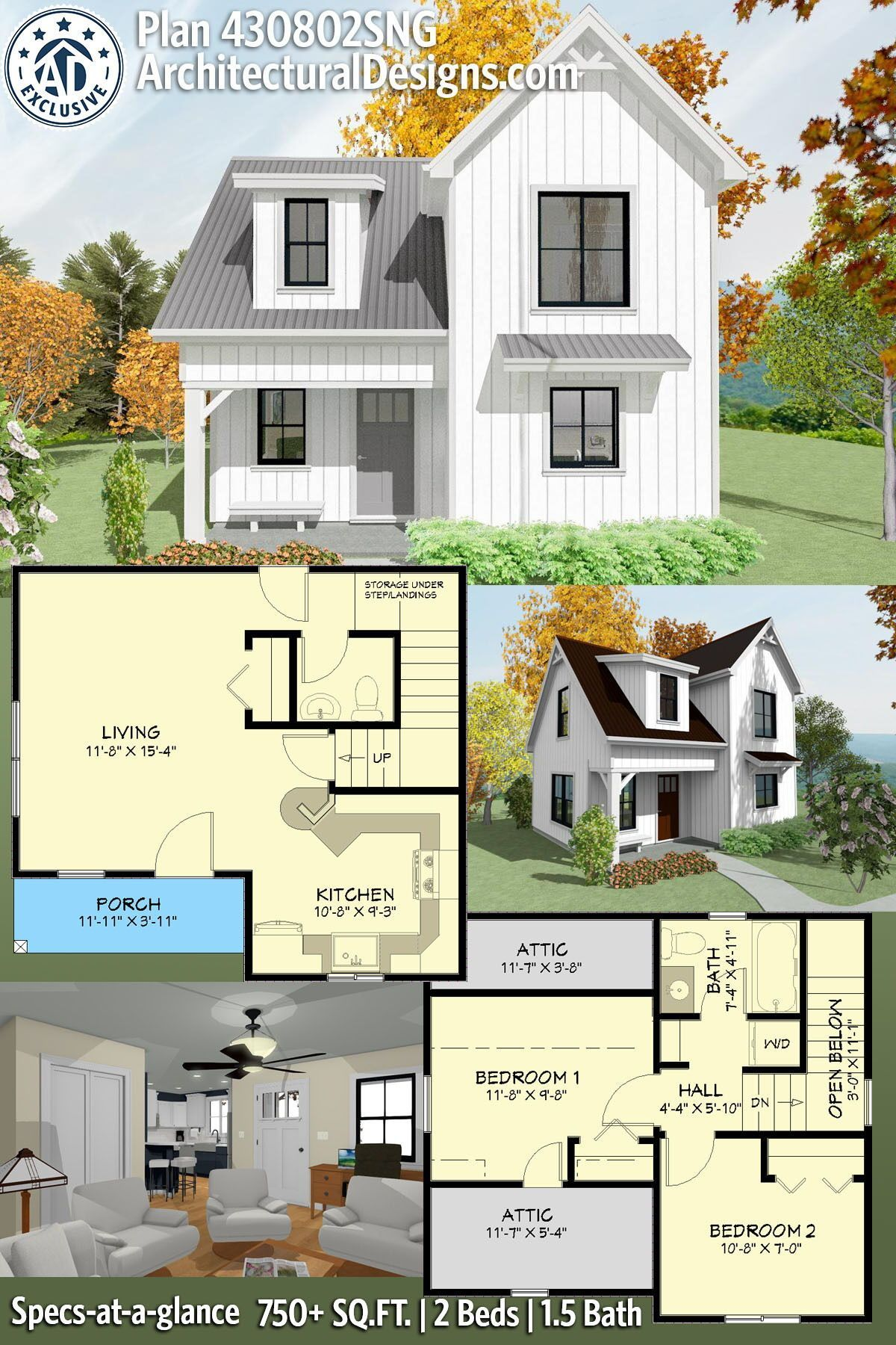 Plan 430802sng Exclusive Two Story House Plan With Upstairs Bedrooms Cottage Floor Plans Tiny House Exterior Two Story House Plans