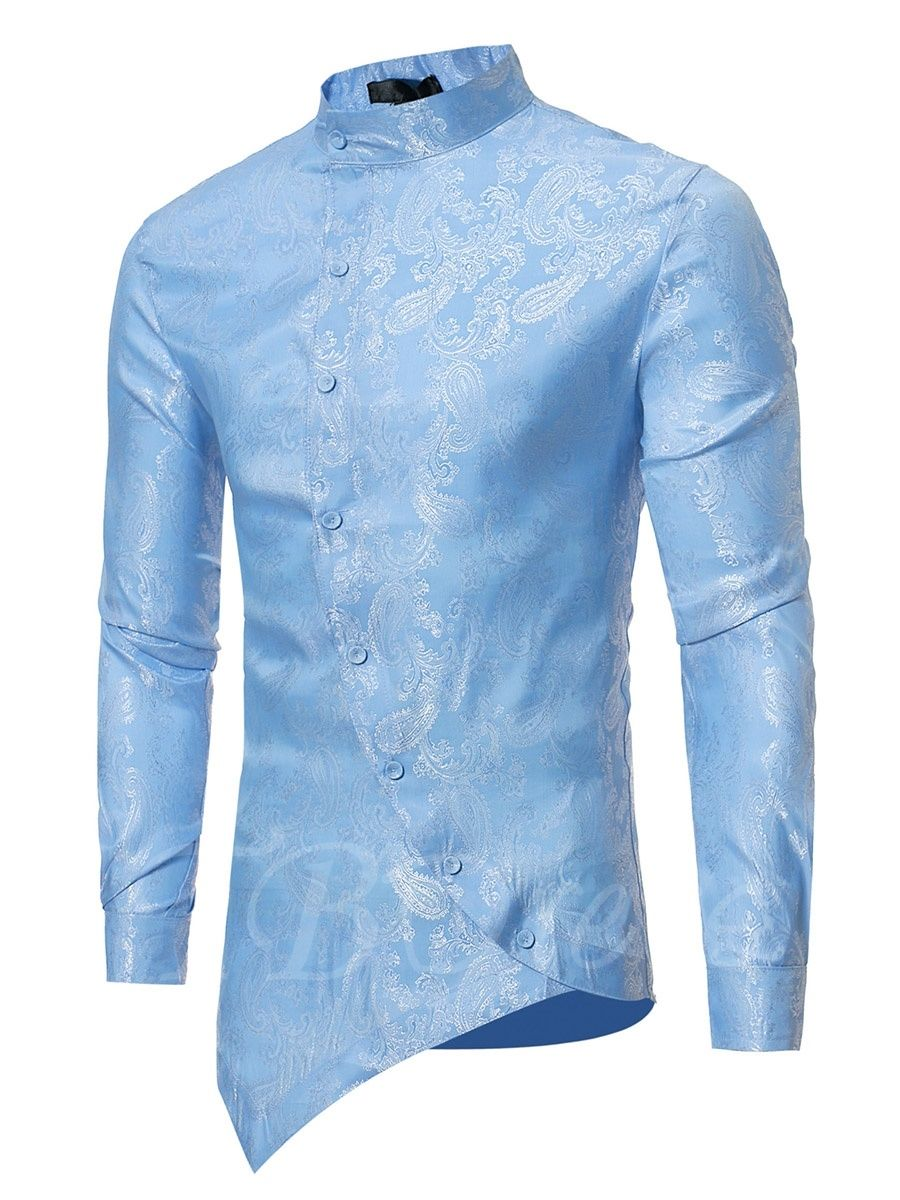 bddf76fcc Irregular Stand Collar Floral Printed Slim Fit Men's Shirt - m.tbdress.com