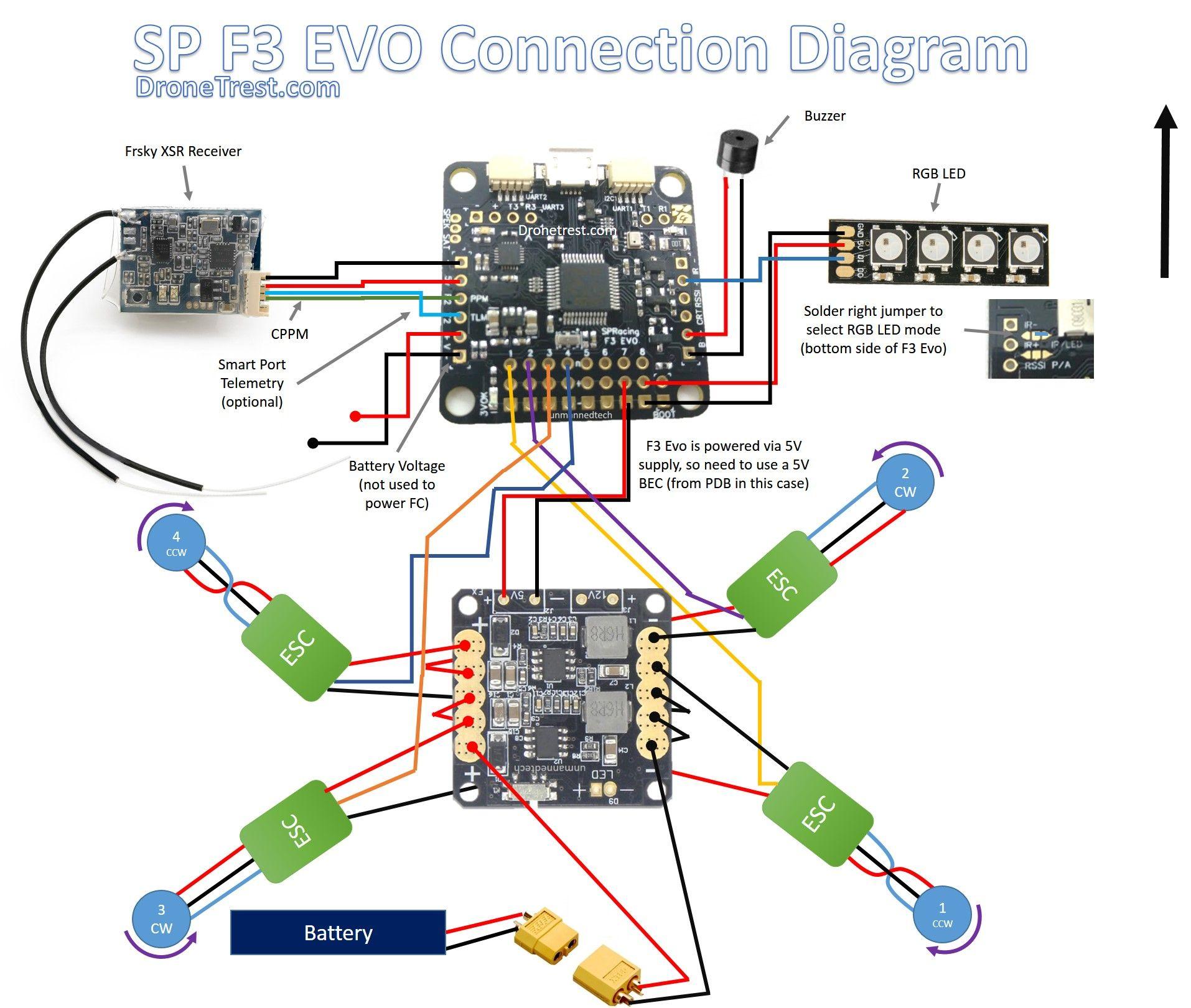 Fpv Racing Drone Wiring Diagram Temperature Control Spracing F3 Evo Connection | Drones Evo, Design
