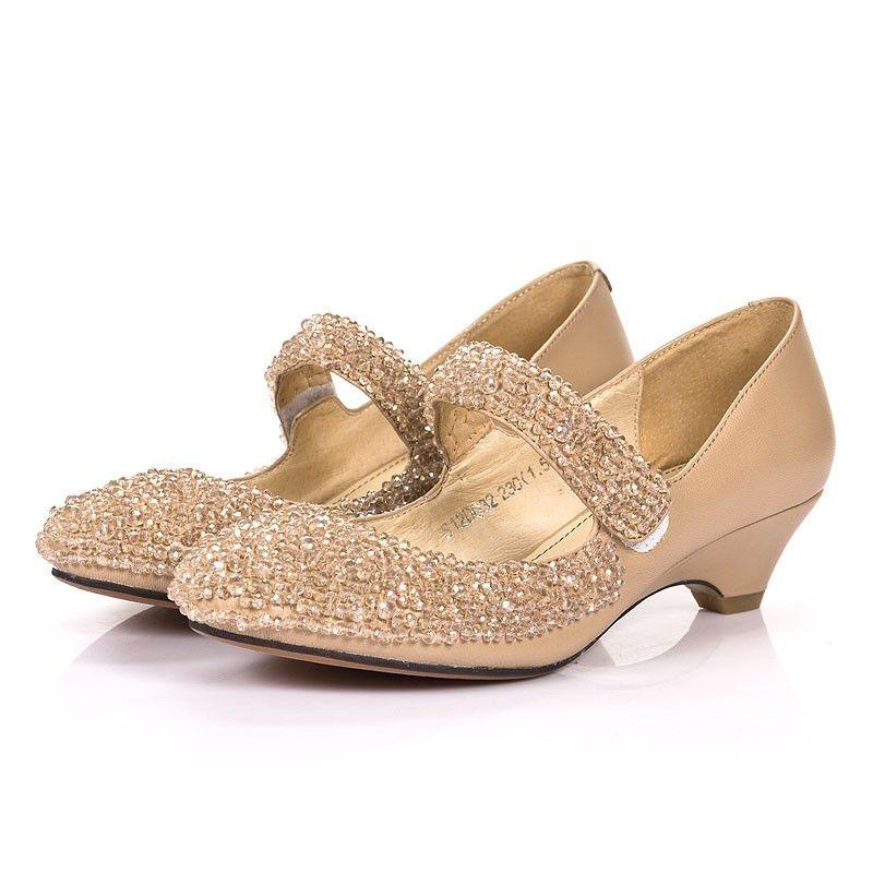 Women S Dress Shoes Low Heel Apricot Real Sheepskin Jeweled Cute Hnd131a