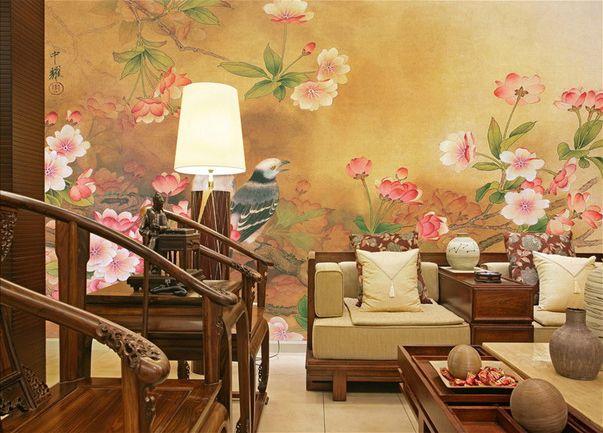 papier peint asiatique vintage sur mesure - les fleurs de cerisier ...