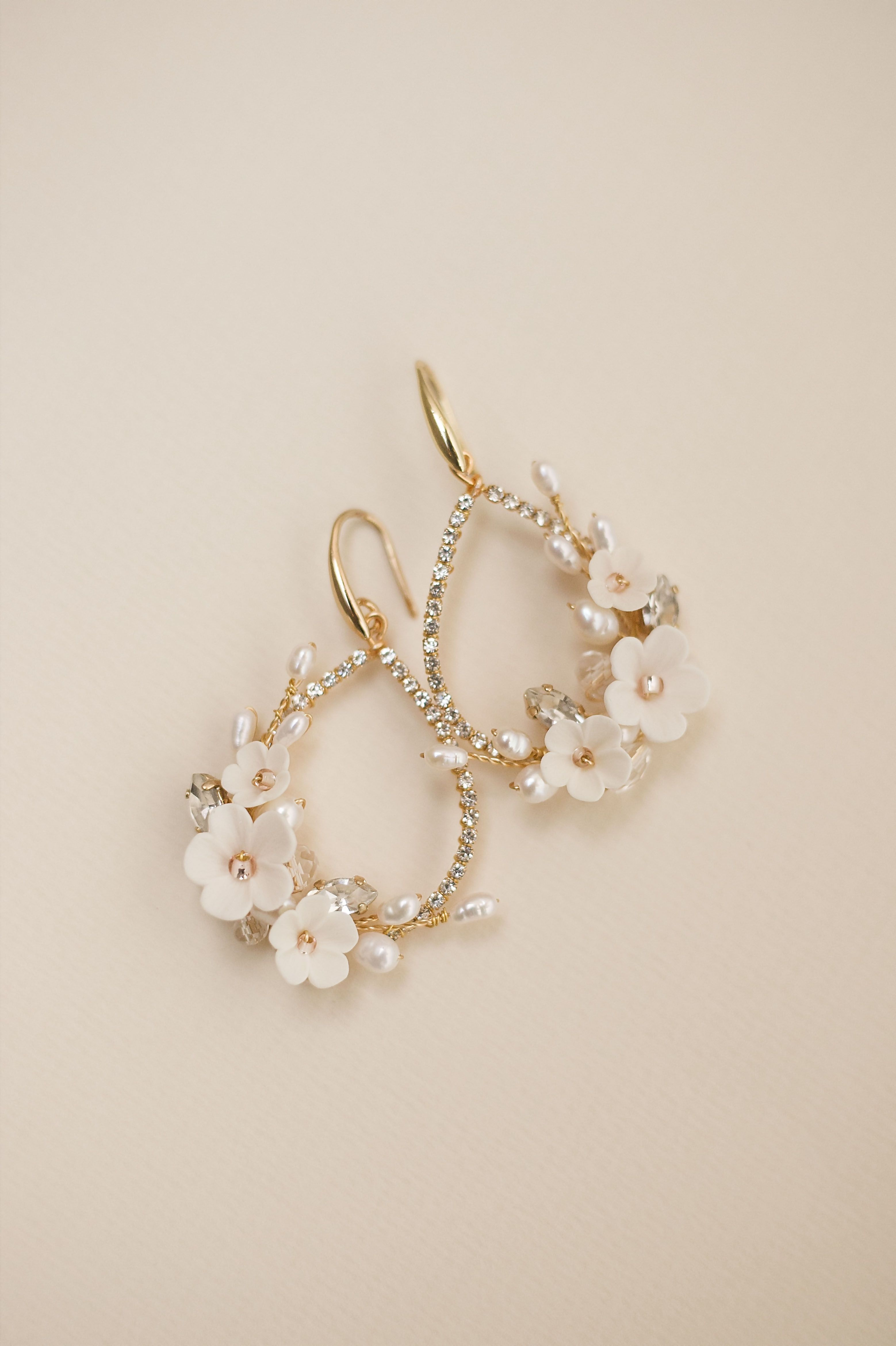 Photo of Floral pearl gold earrings, Antique white colour flower jewelry