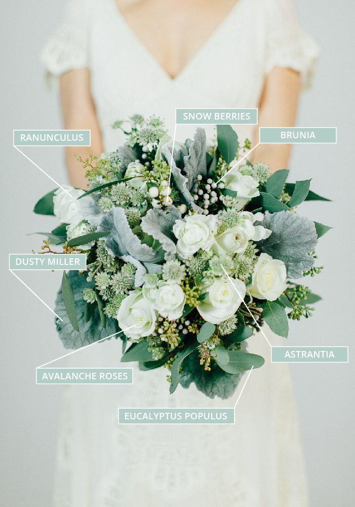 Autumn Fall Wedding Bouquet In White With Sage Green Foliage