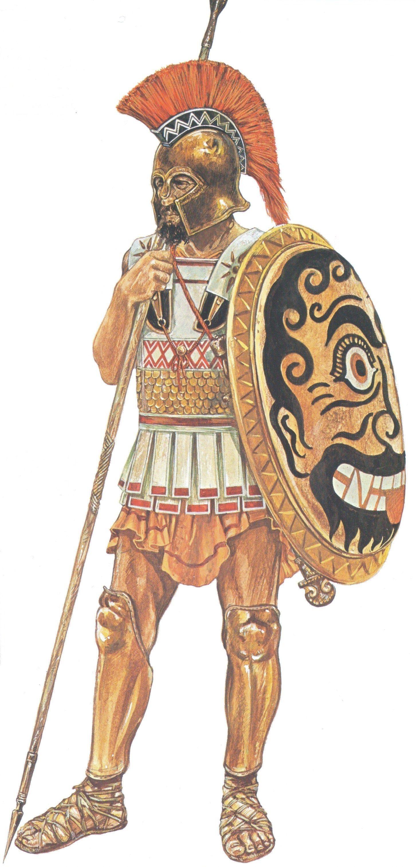 greek hoplite c 480 bc by john warry horeshair crest hoplon