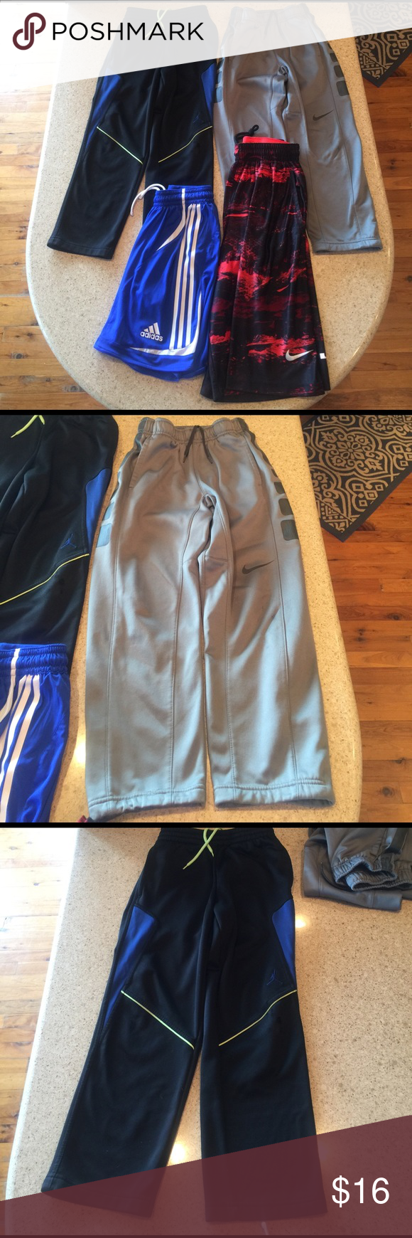 Boys Small Shorts Pants Bundle Boys Small Shorts Pants Nike Bundle. The 2 Nike pants have a bit o wear in on the knee but otherwise perfect. The 2 Shorts are Nike & Adidas in perfect condition. Great buy! Nike Bottoms