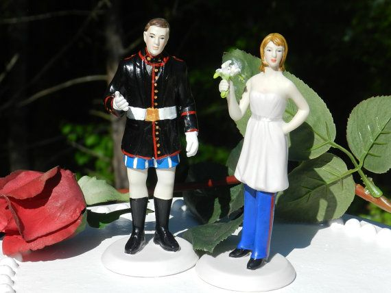 USMC Marine Corps Wedding Cake Topper Bride in charge uniform
