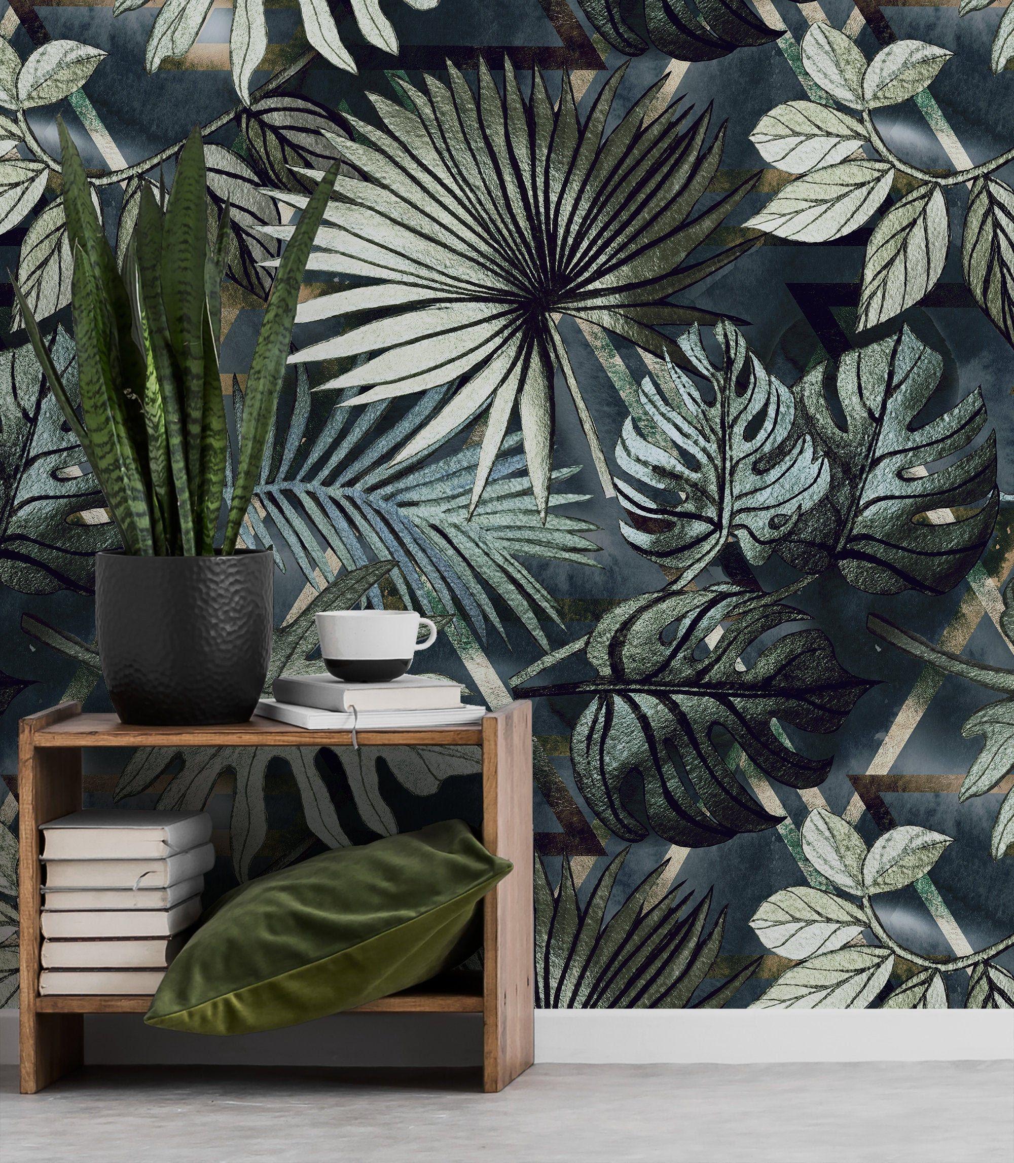 Vintage Tropical Leaves Wallpaper Self Adhesive Jungle Wall Etsy Leaf Wallpaper Jungle Wall Mural Wallpaper