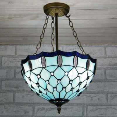 Romantic Blue Stained Glasstiffany Threelight Chandelier In Bowl Brilliant Stained Glass Light Fixtures Dining Room Decorating Design