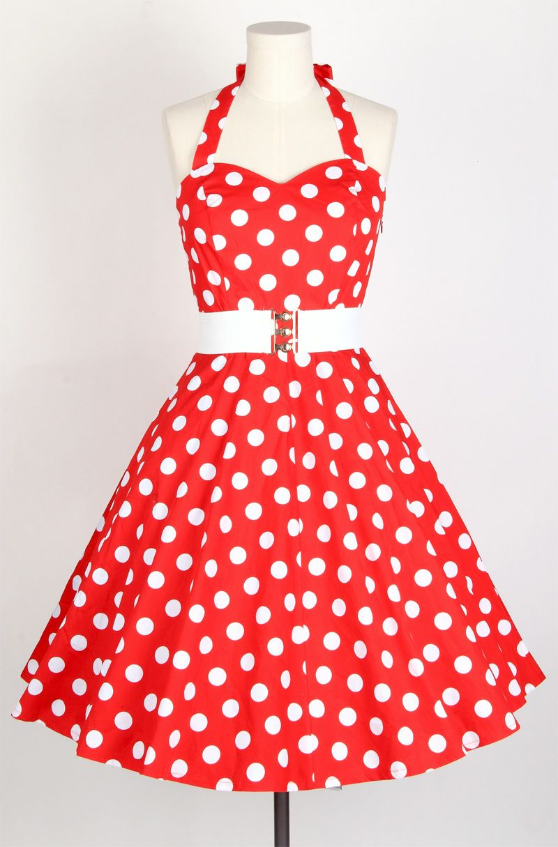 50s Polka Dot Bigwhitedots Red Halterneck Swing Dress