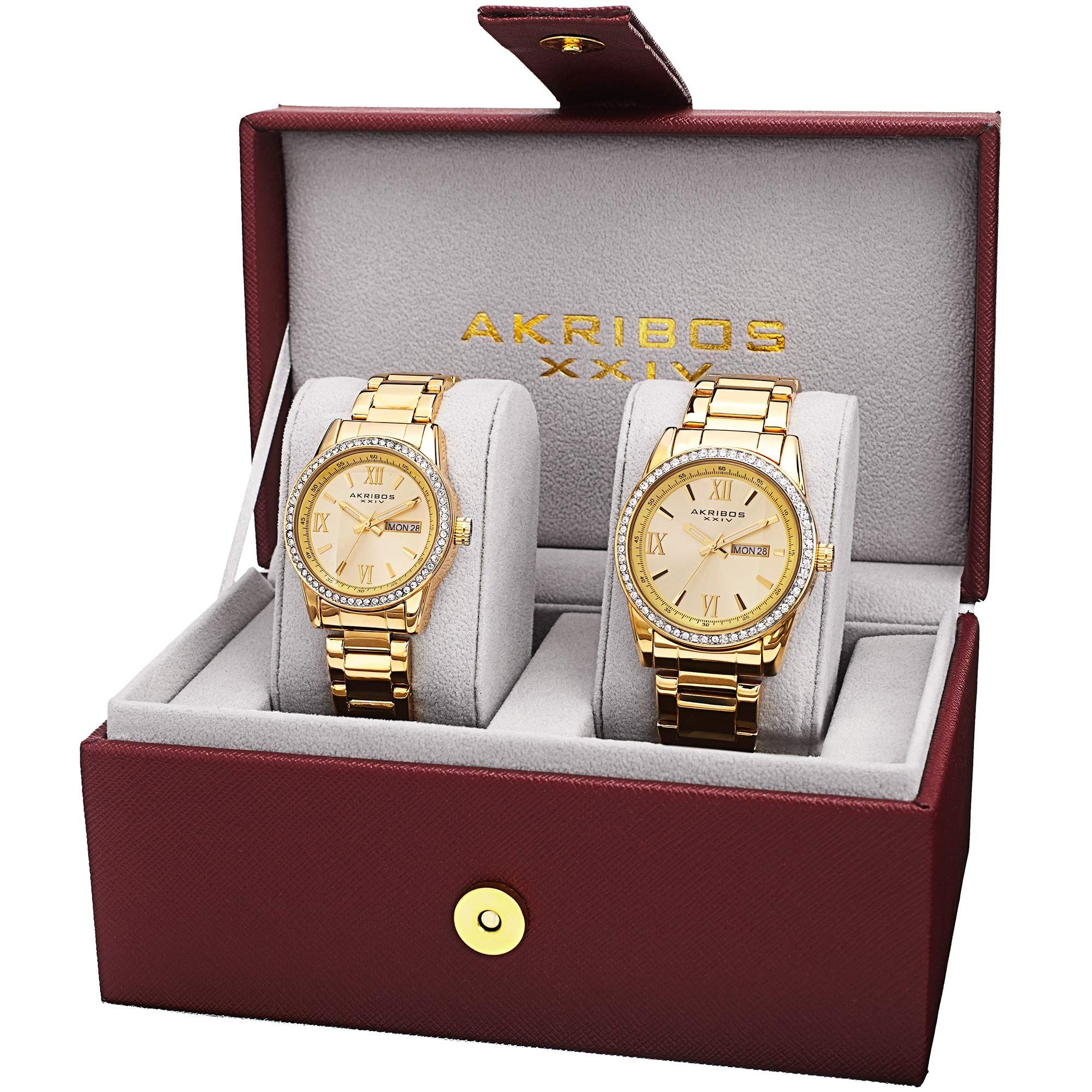 Akribos xxiv mens and womens watch matching set his and