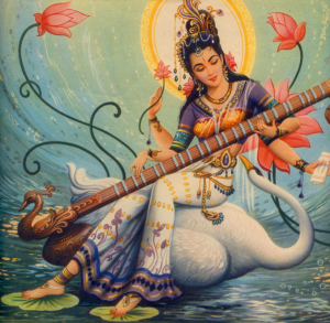 The goddess Saraswati. She is known as the goddess of language, insight and sound.