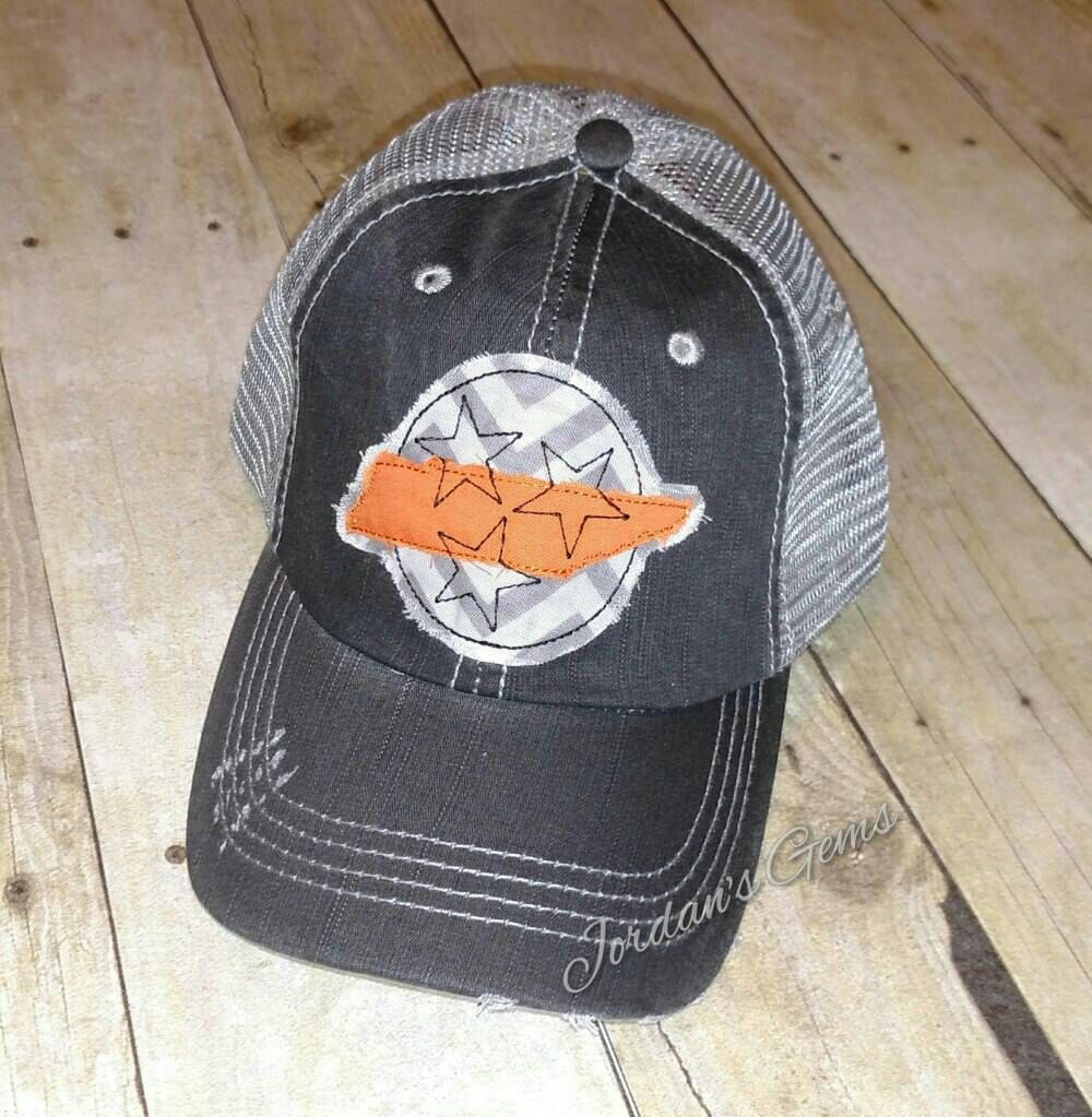 221ecf7b365 Tennessee Tristar and State Distressed Mesh Back Trucker Hat by  JordansGems2 on Etsy