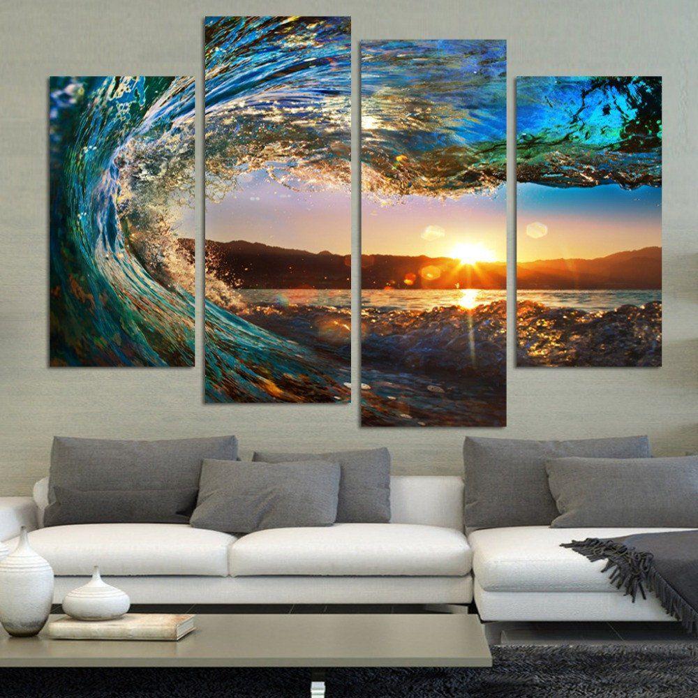 4 Panels Modern Beach Ocean Wave Scene Wall Art Home Wall