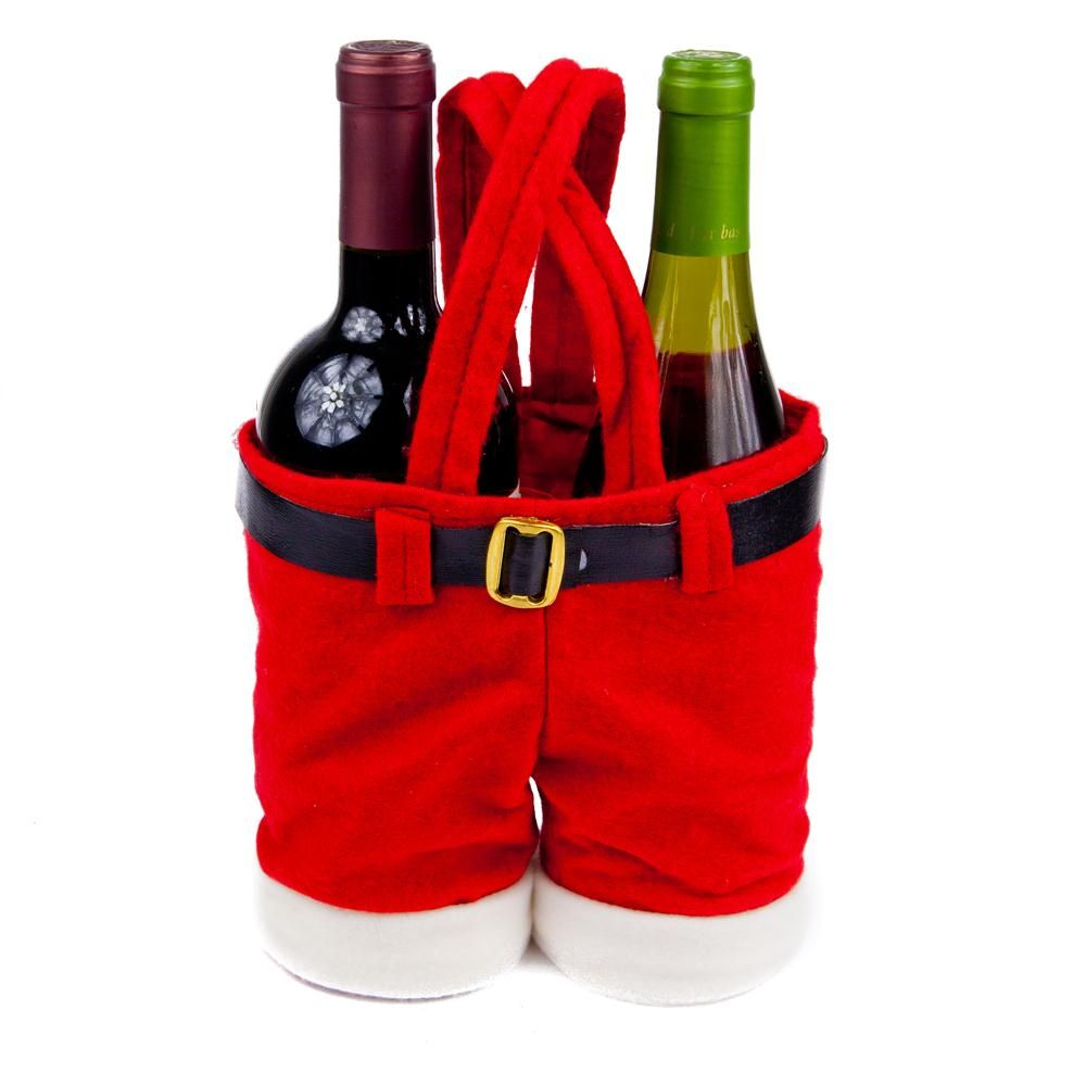 Santa Pants Wine Holders Gift Bag Not Only Will You Be Giving Wine For A Gift You Will Be Spreading Holiday Che Wine Bottle Holders Wine Bottle Christmas Fun