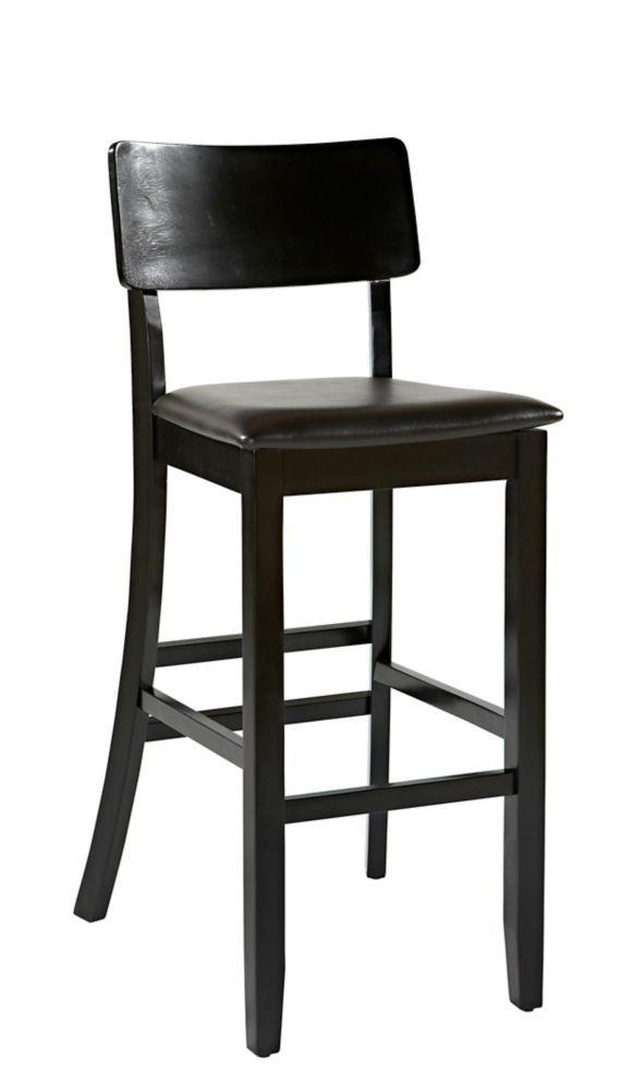 Manufactured Wood Black Modern Full Back Armless Bar Stool
