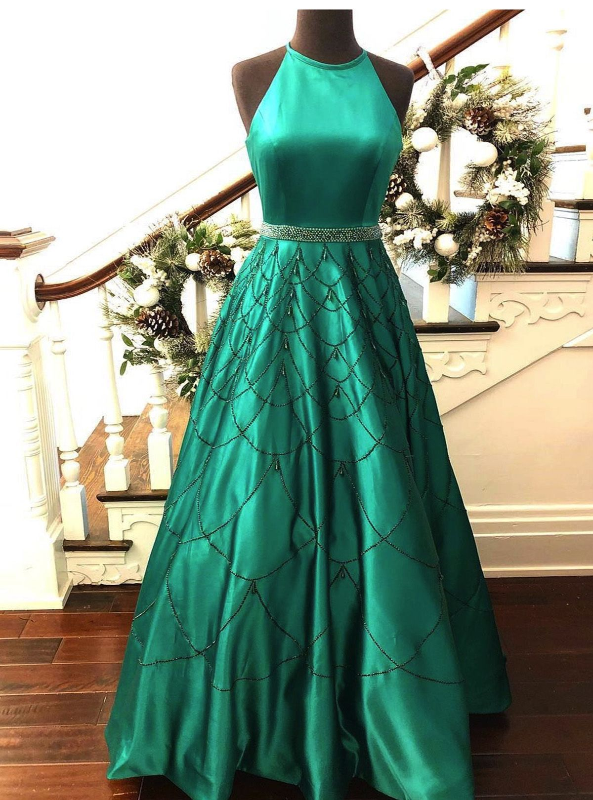 Green satin strapless beaded long graduation dress, long customize ...