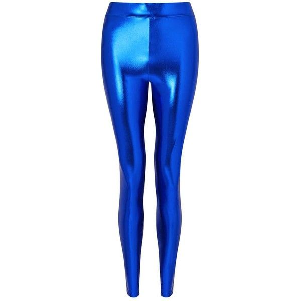 8a4f3f24b51bd Miss Selfridge Cobalt Metallic Effect Leggings ($10) ❤ liked on Polyvore  featuring pants, leggings, bright blue, bright blue leggings, metallic pants,  ...