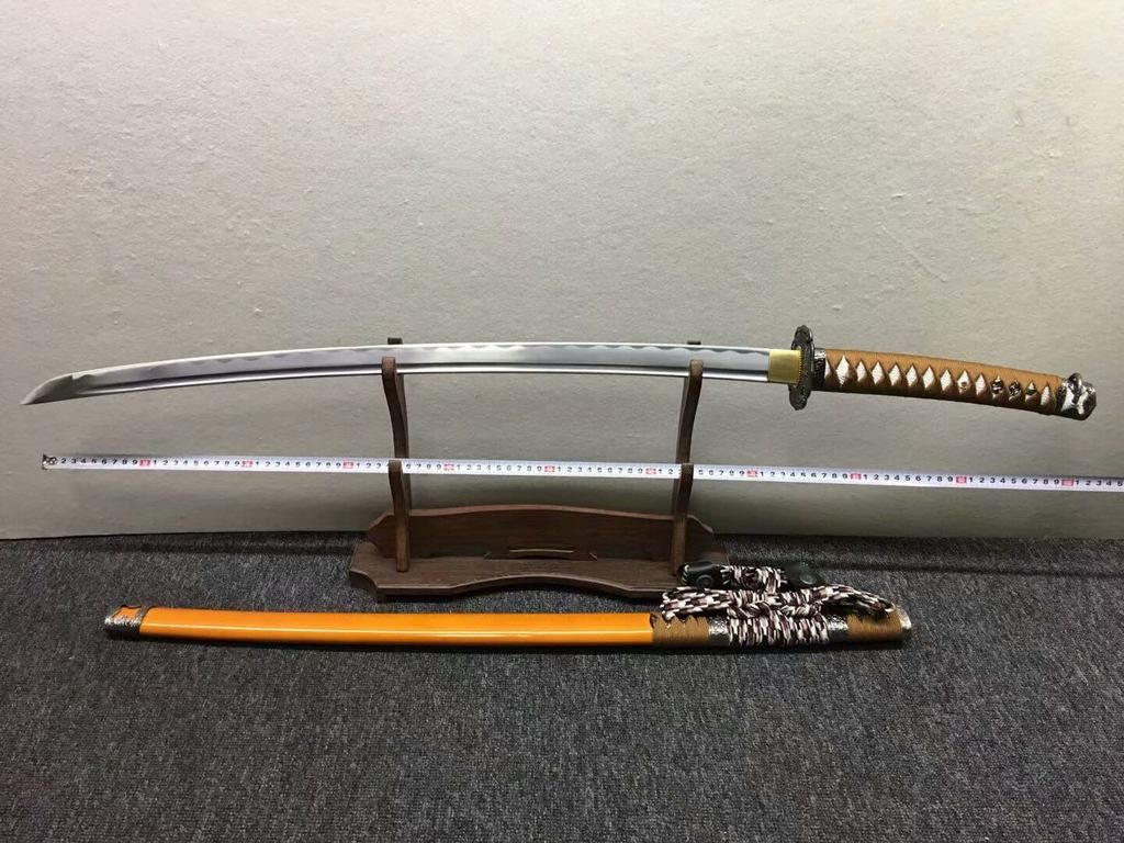 CLAY TEMPERED T10 FOLDED STEEL JAPANESE SAMURAI KATANA IRON SNAKE KASHIRAE SWORD