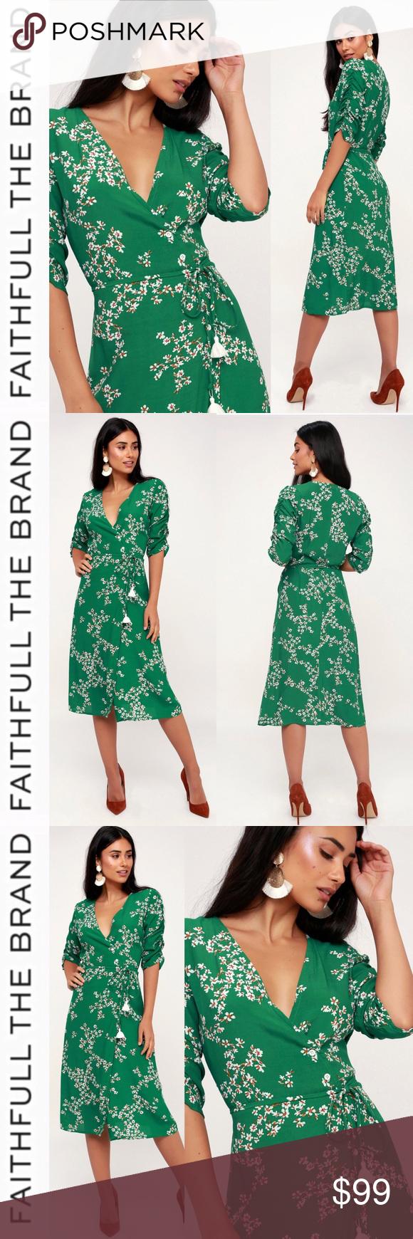 1b6aea2023d8 Faithfull the Brand Green Floral Wrap Dress The Faithfull the Brand Anne  Marie Green Floral