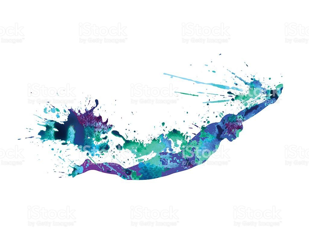 Swimming Man Vector Watercolor Blue Splash Paint Swimming