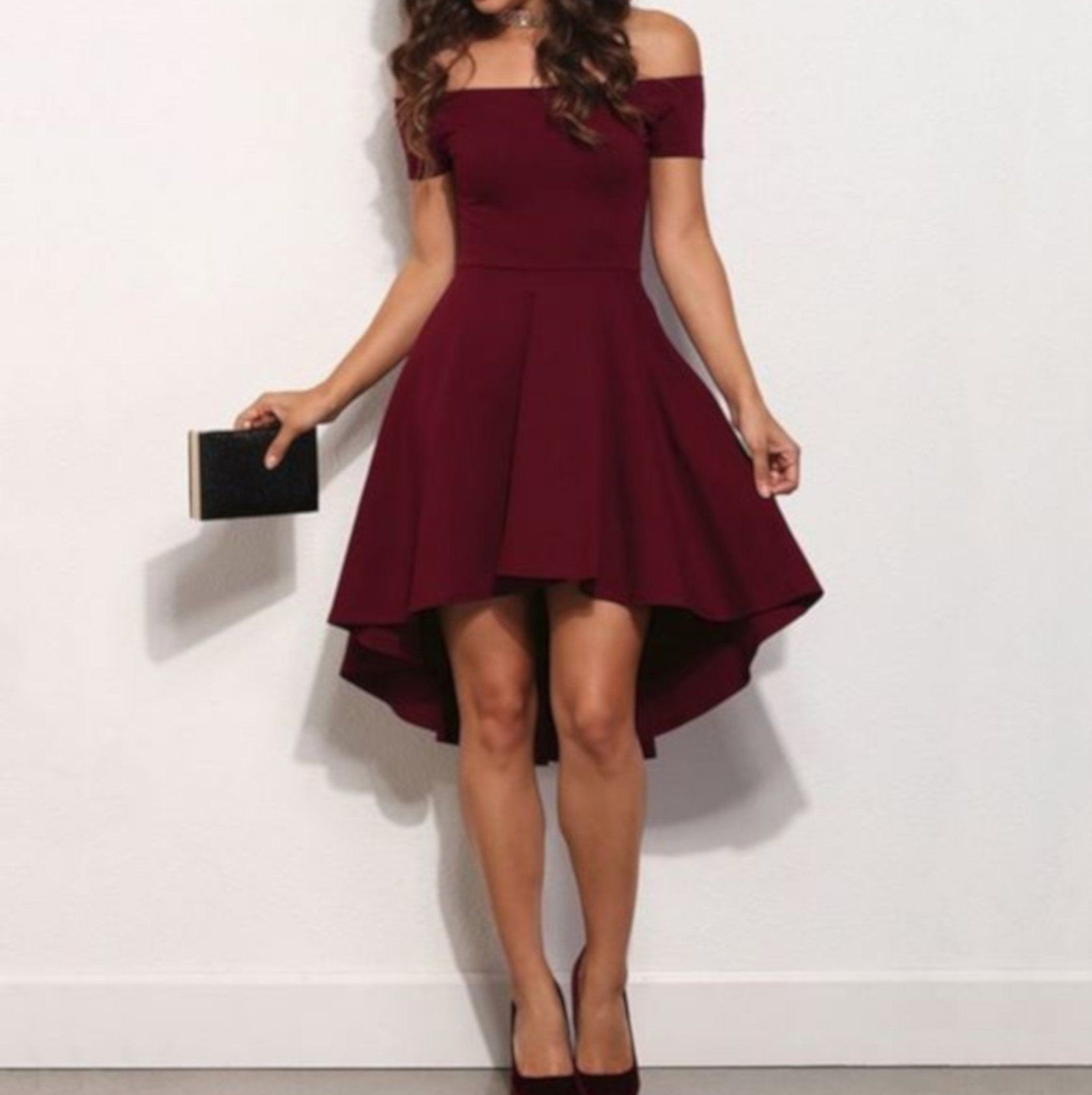 Vintage Wine Red Off The Shoulder Nye High Low Cocktail Dress High Low Cocktail Dress High Low Party Dresses Ball Dresses [ 1605 x 1600 Pixel ]