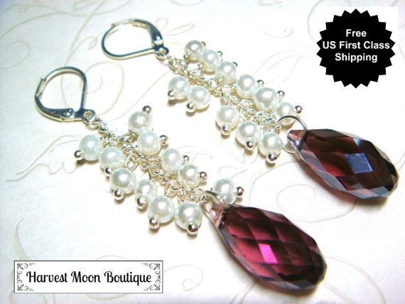 Pearl Wedding Earrings White Pearl Bridal Jewelry Handfasting Wiccan Pagan Wedding Purple Crystal Handmade Bridal Earrings Elegant Gift Her by AngiePinkal