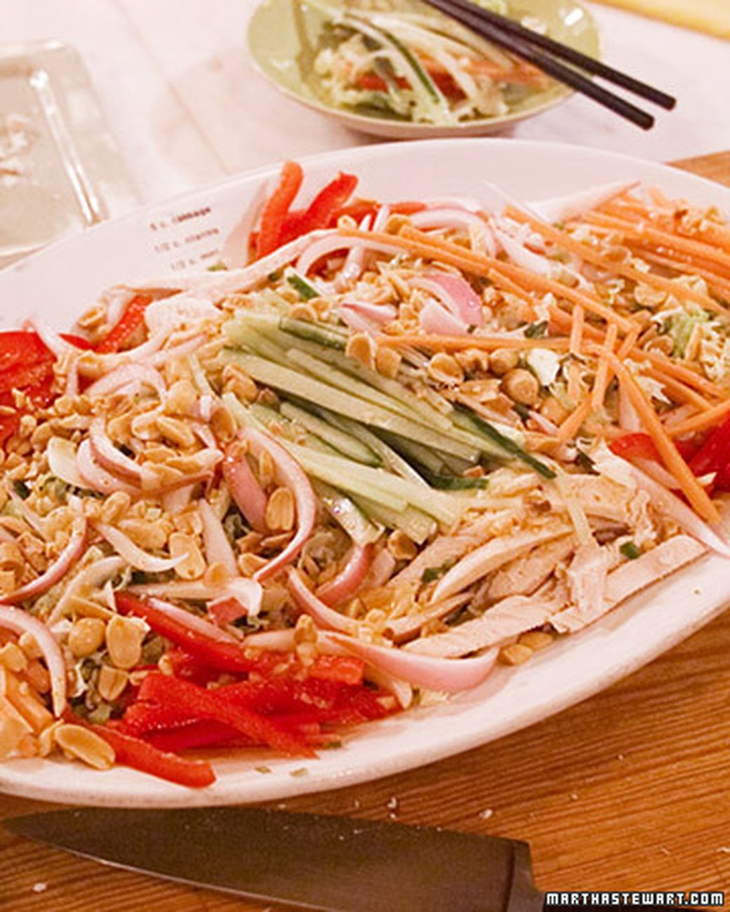 Susan Sugarman, senior food editor of Martha Stewart Living, likes to prepare a simple Vietnamese chicken salad using savoy or Chinese cabbage and thinly sliced poached chicken. The salad's distinctive flavor comes from a combination of mint, cilantro, Vietnamese fish sauce, and roasted peanuts.