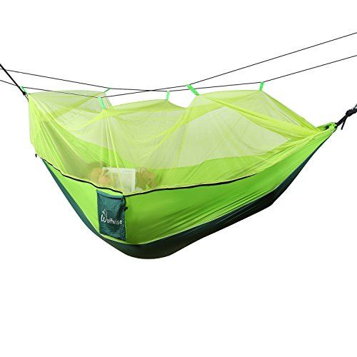 WolfWise Mosquito Net Double Hammock Camping Parachute Hammock Tent Portable 2 Person Supporting up to 400 pounds for Backpacking with Rope  Carabiners L x W  106 inch x 55 inchGreen -- Want additional info? Click on the image.
