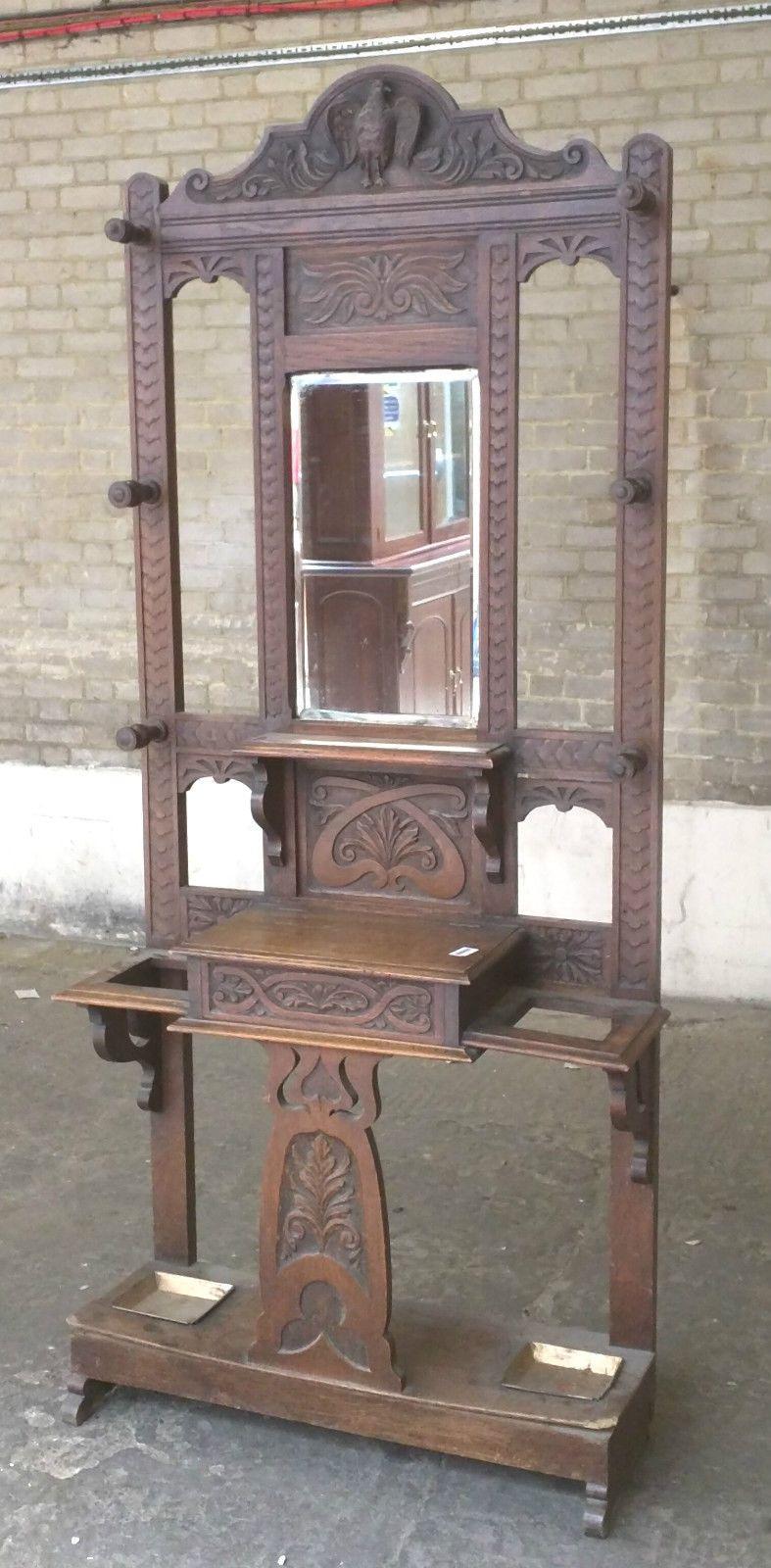 Antique Vintage Unbranded Ornate Wooden Coat Umbrella Stand With Mirror C76 Ebay Umbrella Stand Victorian Furniture Antiques