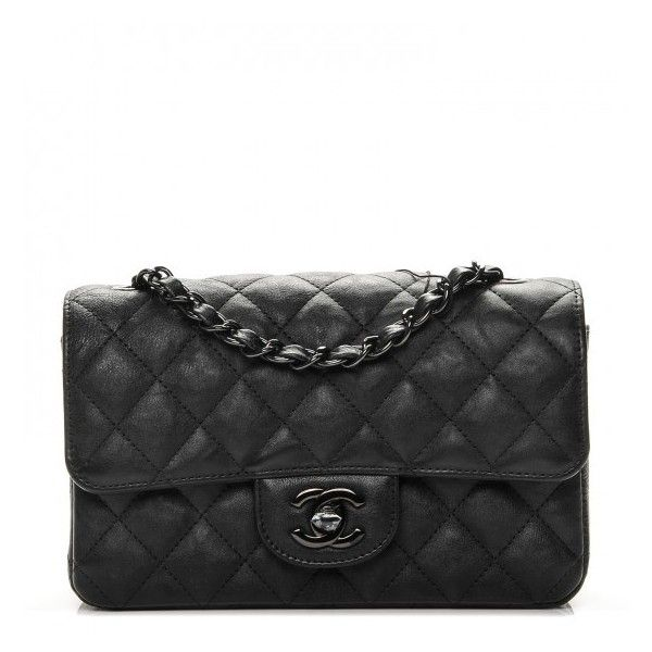 e9c01d04c192 CHANEL Crumpled Calfskin Quilted Mini Rectangular Flap So Black ❤ liked on  Polyvore featuring bags