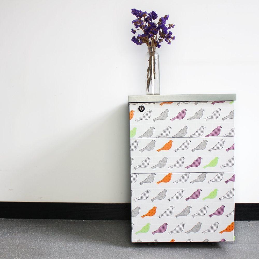 Fancy Fix Vinyl Self Adhesive Contact Paper Bird Design Multi Color Decorative Shelf Liner Contact Paper Drawer Liner