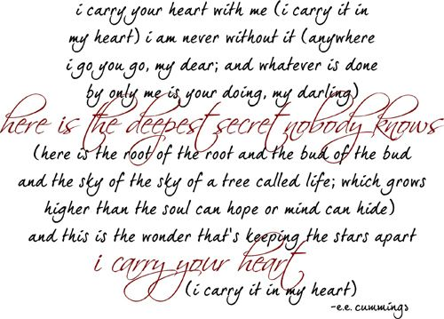 Poem explication i carry your heart