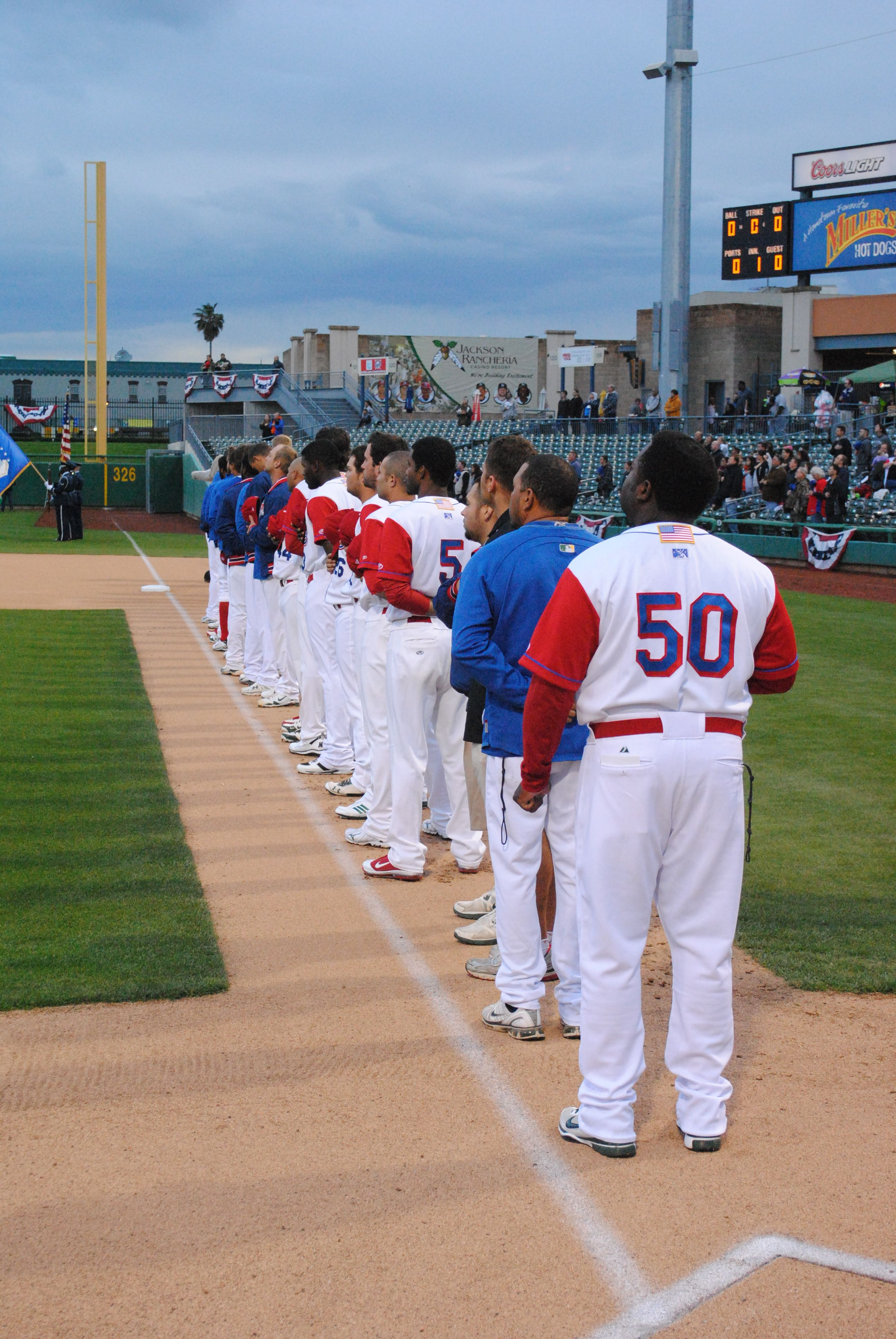 then 2012 stockton ports lined up at banner island ballpark on