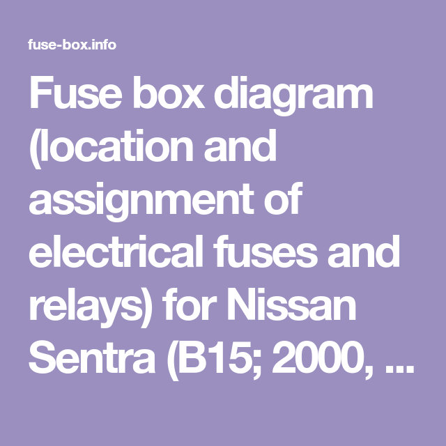 Fuse Box Diagram Location And Assignment Of Electrical Fuses And Relays For Nissan Sentra B15 2000 2001 2002 20 Fuse Box Electrical Fuse Ford Expedition