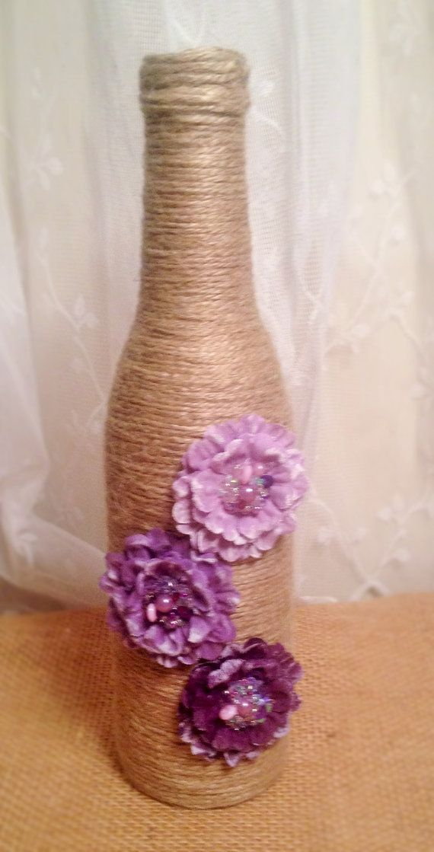 Mini Twine Wrapped Wine Bottle Vase by RusticallyYours on Etsy, $8.00