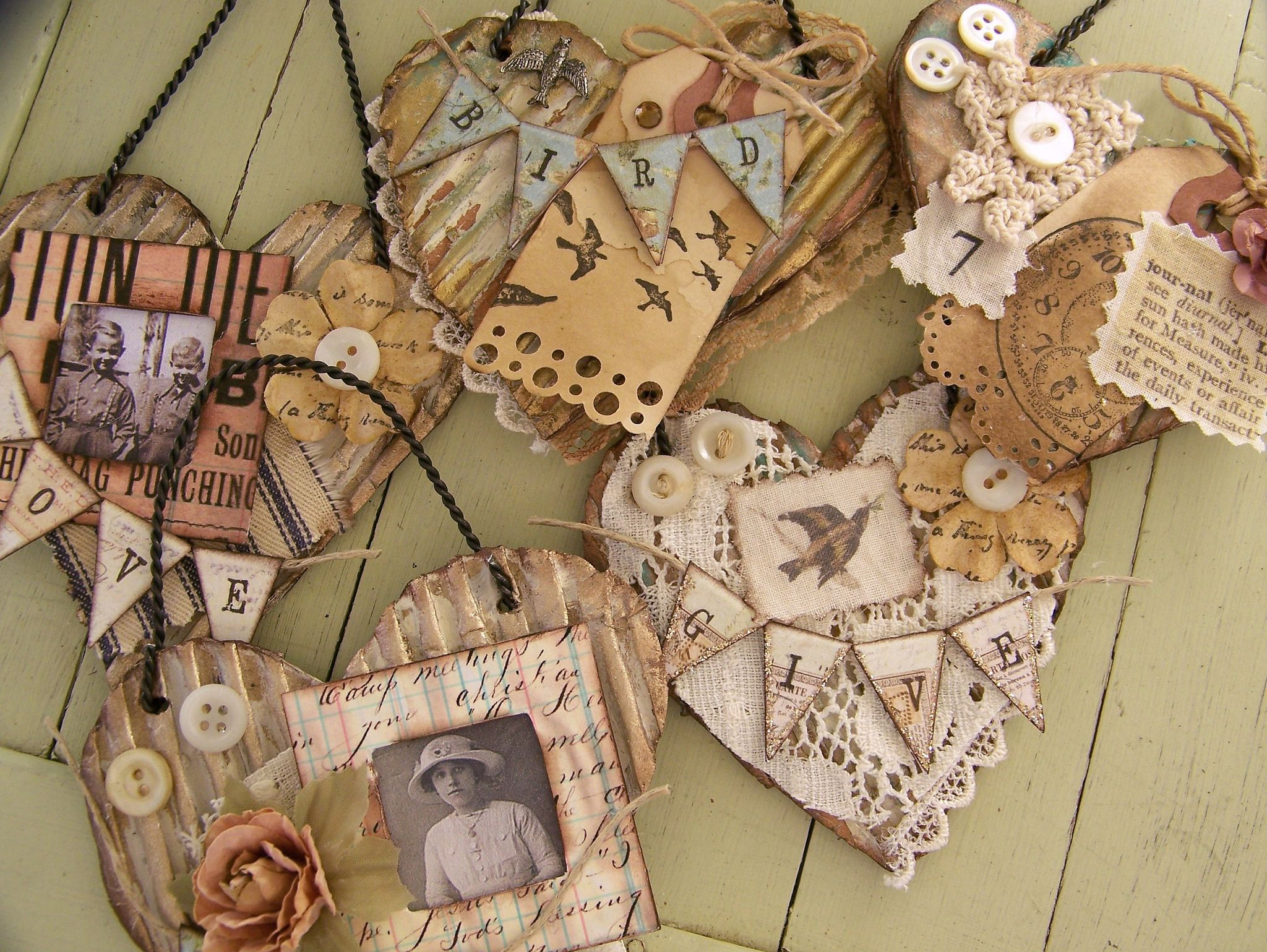 Vintage Style Heart Art Collages | by QueenBe1
