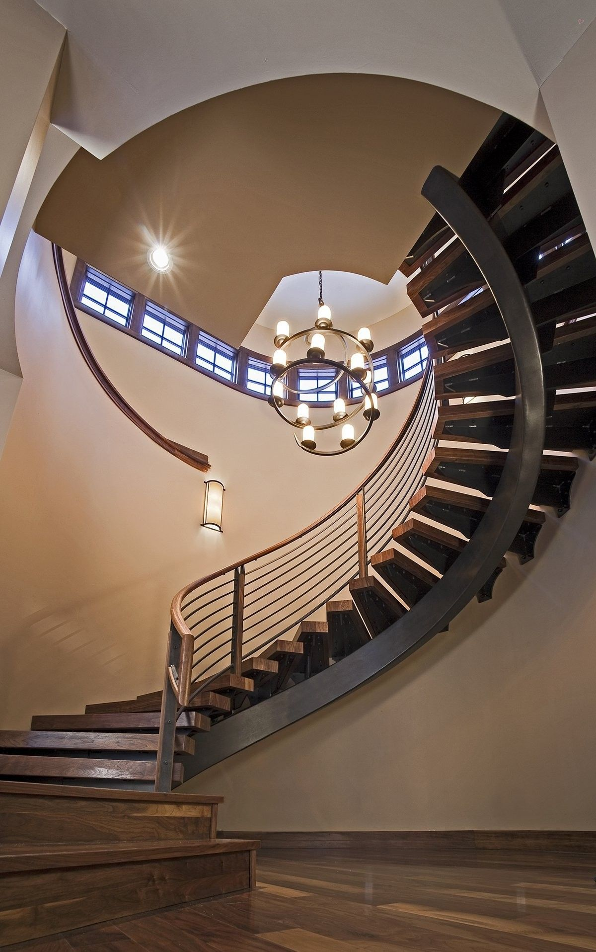 Dramatic Winding Stairs Comprised Of Inch Thick Walnut Planks - Design of stairs inside house