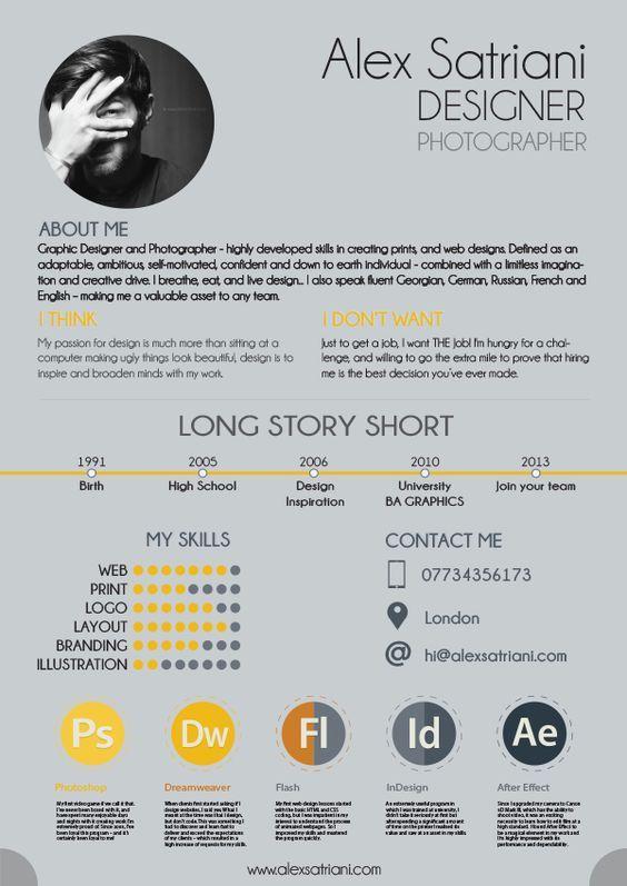 22 idées de CV créatifs - Graphic design resume, Graphic design cv, Infographic resume, Cv design, Graphic resume, Creative cv - Il n'est pas rare de chercher de l'inspiration sur internet pour pouvoir créer le plus beau des CV et de pouvoir rapidement convaincre un recruteur  Quand