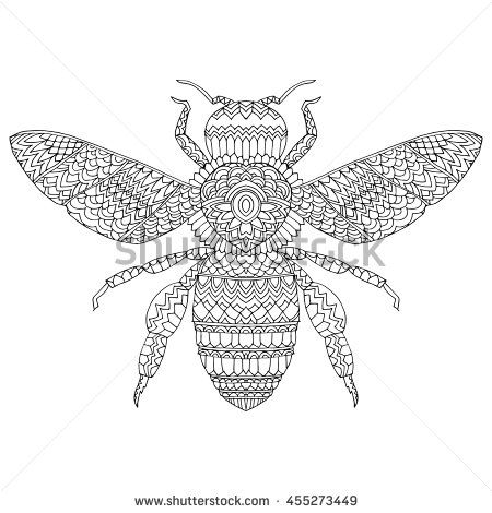 The Stylized Insect Wasp Bumblebee Hornet Fly Line Art Black