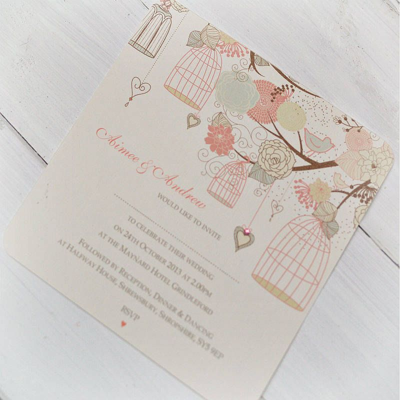 Hanging Vintage Birdcages Wedding Invitations