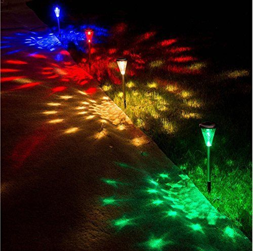 Sogrand 4pcs Pack Glass Lens Stainless Steel,Solar Lights Outdoor,4 Color  LEDs