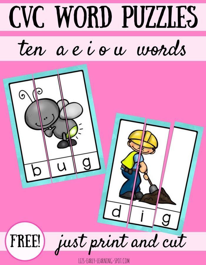 10 Free CVC Word Puzzles | Kind