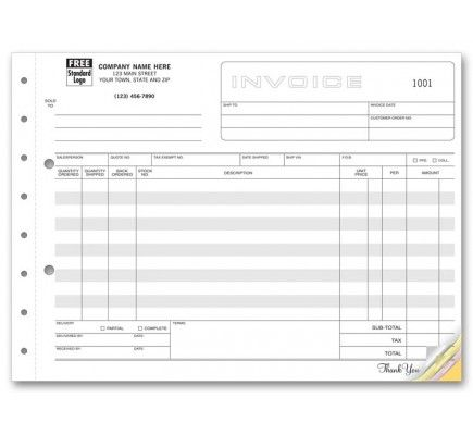 Horizontal Shipping Invoice Forms Item No 113 Size 11\