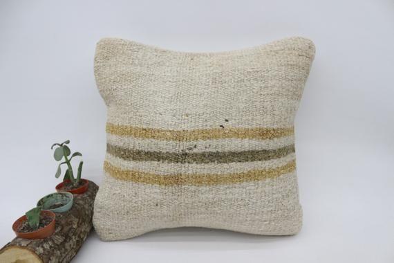 Kilim Pillow, Hemp Pillow,Pillow Case, Rustic Pillow, Beige Pillow,Traditional Pillow 14x14, Home Pi