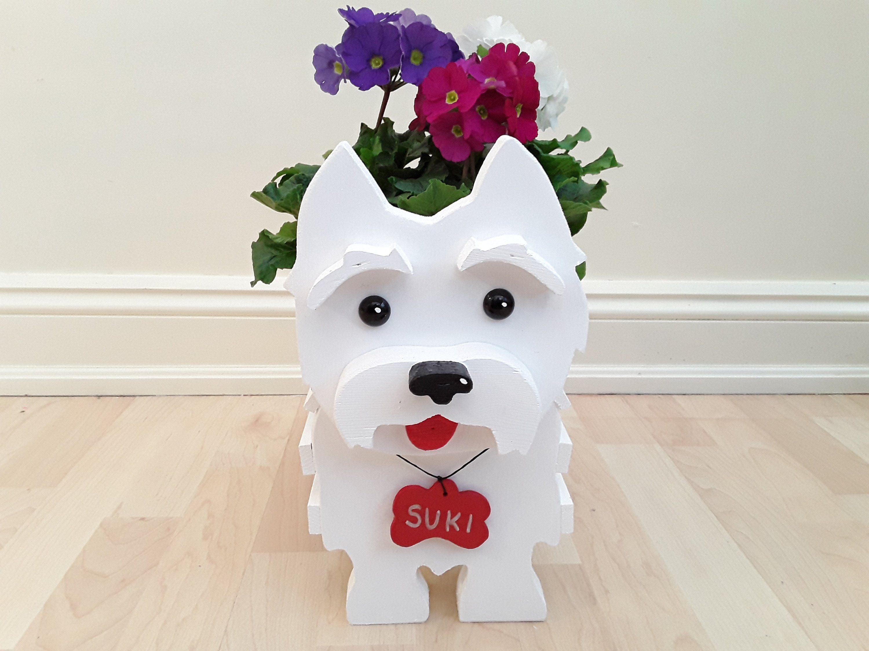 Westie Ornament Custom Made Wooden Dog Plant Pot Holder Etsy