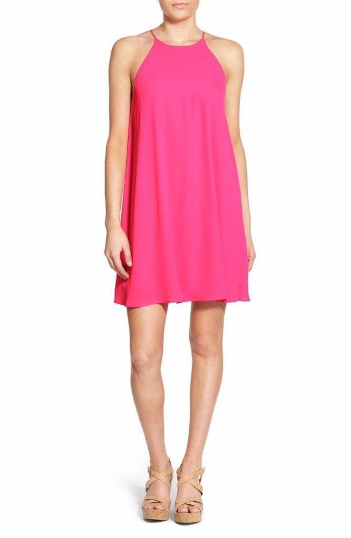 Pink dress shirt for women  Everly High Neck Trapeze Dress Size Small Pink  FTC   Fashion